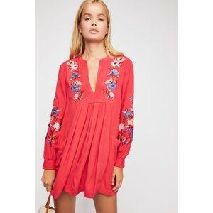 [Free People] Red Mia Gauze embroidered mini dress